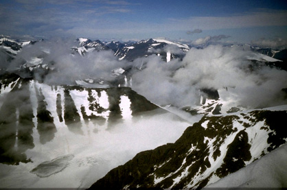 Udsigt fra toppen af Kebnekaise
